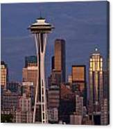 Seattle Skyline And Space Needle With City Lights Canvas Print