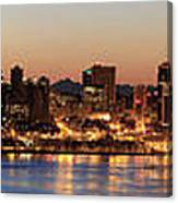 Seattle Skyline At Dawn Along Puget Sound Canvas Print