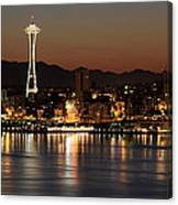 Seattle Skyline At Night By The Pier Panorama Canvas Print