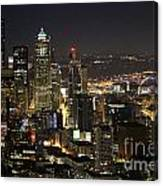 Seattle Skyline At Night Canvas Print