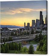 Seattle Skyline At Sunset Canvas Print