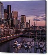 Seattle Skyline Bell Harbor Dusk Canvas Print