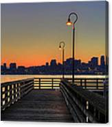 Seattle Skyline From The Pier At Sunrise Canvas Print