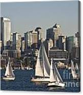 Seattle Skyline With Sailboats Canvas Print