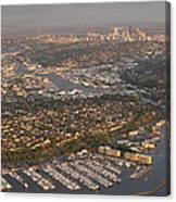 Seattle Skyline With Shilshole Marina Along The Puget Sound  Canvas Print