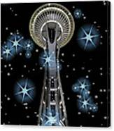 Seattle Space Needle Blue Stars Canvas Print