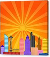 Seattle Washington City Skyline Panorama Canvas Print