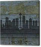 Seattle Washington City Skyline Silhouette Distressed On Worn Peeling Wood Canvas Print