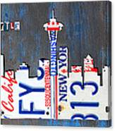Seattle Washington Space Needle Skyline License Plate Art By Design Turnpike Canvas Print