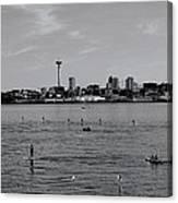 Seattle Waterfront Bw 2 Canvas Print