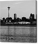 Seattle Waterfront Bw Canvas Print