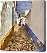 Secluded Cobblestone Street In The Medieval Village Of Obidos IIi Canvas Print