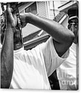 Second Line Black And White Canvas Print
