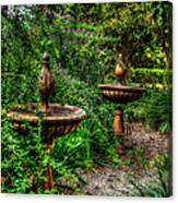 Secret Garden Birdbath Canvas Print