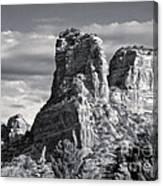 Sedona Arizona Mountain Peak - Black And White Canvas Print