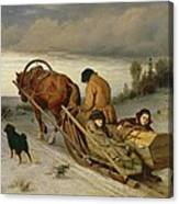 Seeing Off The Dead, 1865 Oil On Canvas Canvas Print