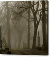 A Graveyard Seeped In Fog Canvas Print