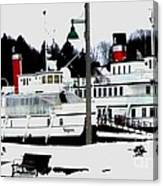 Segwun And Wenonah Steamships In Winter Canvas Print