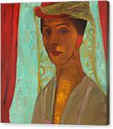Self Portrait With Hat And Veil Canvas Print