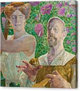Self-portrait With Muse And Buddleia Canvas Print
