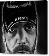 Self Portrait With Us Army Retired Cap Canvas Print
