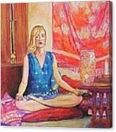 Self Portriat Meditating With Tarot Canvas Print