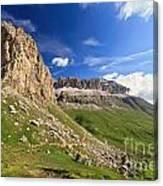 Sella Mountain And Pordoi Pass Canvas Print