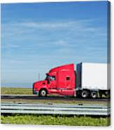 Semi Truck Moving On The Highway Canvas Print