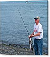 Senior Caught A Pollock In Kachemak Bay Off Homer Spit-alaska Canvas Print
