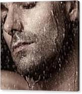 Sensual Portrait Of Man Face Under Pouring Water Canvas Print