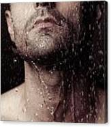 Sensual Portrait Of Man Face Under Shower Canvas Print