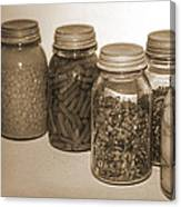 Sephia Vintage Kitchen Glass Jar Canning Canvas Print