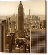 Sepia Empire State Building New York City Canvas Print