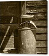 Sepia Photograph Of Vintage Creamery Can By The Old Homestead In 1880 Town Canvas Print