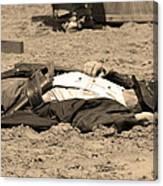 Sepia Rodeo Gunslinger Victim Canvas Print