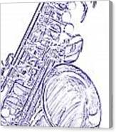 Sepia Tone Drawing Of A Tenor Saxophone 3356.03 Canvas Print