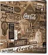 Sepia Toned Signs Of Coca Cola Canvas Print