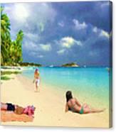 Serene Beach Scene Canvas Print