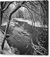 Serene Winter Stream Canvas Print