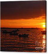 Serenity At The Bay - Sunset Canvas Print