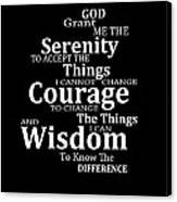 Serenity Prayer 5 - Simple Black And White Canvas Print