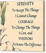 Serenity Prayer Typography On Calla Lilly Watercolor Canvas Print