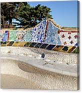 Serpentine Bench In Park Gueli In Barcelona Canvas Print