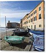 Sestri Levante And Boats Canvas Print