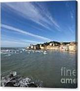 Sestri Levante With Blue Sky And Clouds Canvas Print