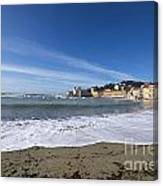Sestri Levante With Waves Canvas Print