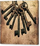 Set Of Old Rusty Keys On The Metal Surface Canvas Print