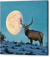 Setting Moon And Elk Canvas Print