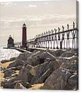 Setting Spring Sun In Grand Haven Canvas Print