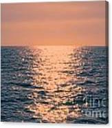 Setting Sun At Sea Canvas Print